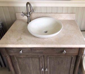 Bathroom vanity with remnant countertop