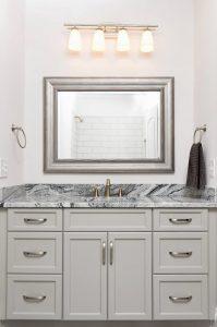 Bathroom vanity made with Viscon White granite remnant