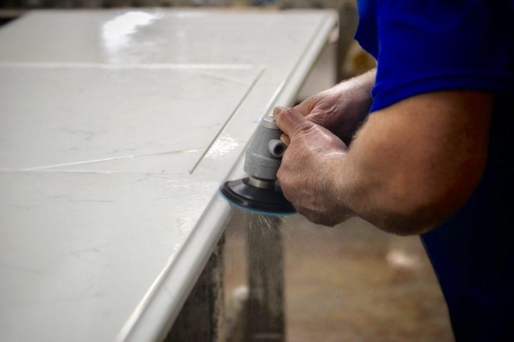 Hand Polishing a Engineered Stone Slab