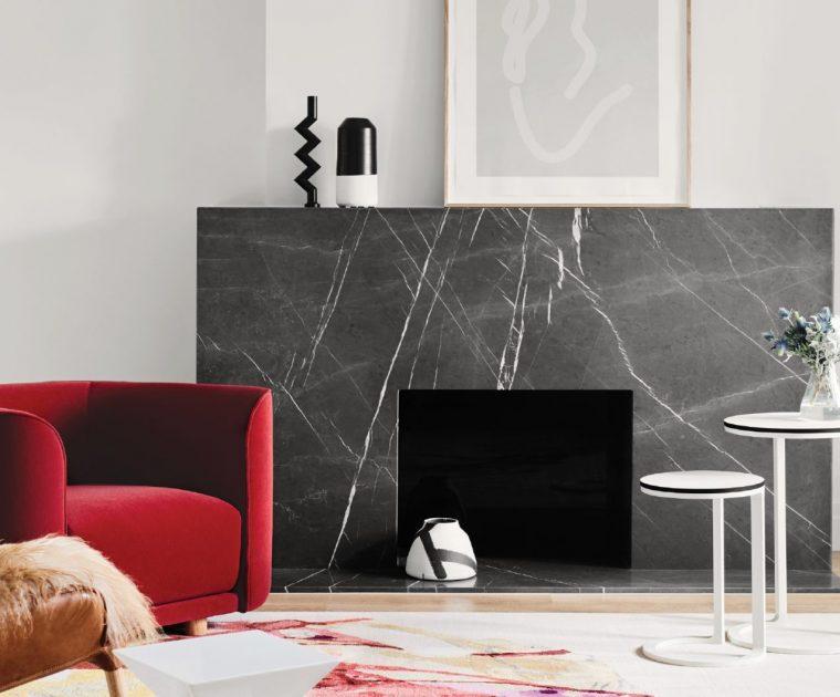 Modern fireplace with granite surround