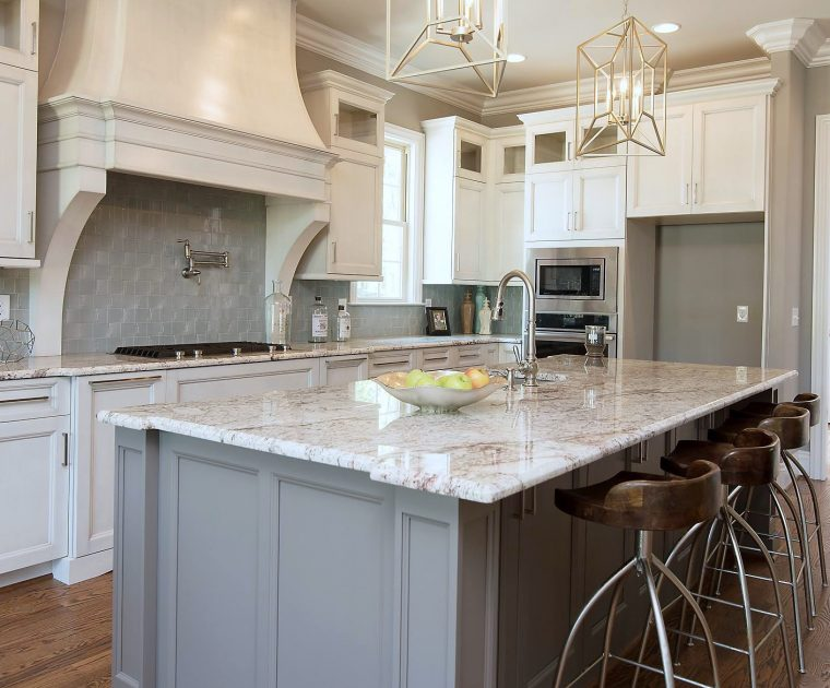 Granite Kitchen Island Gray Cabinets