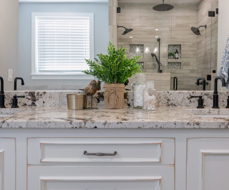 Granite remnant used for a bathroom vanity