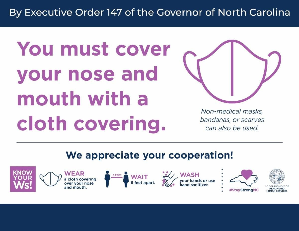 You must cover your nose and mouth with a cloth covering